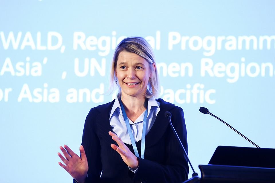 WeEmpowerAsia Regional Programme Manager Katja Freiwald speaks at the launch ceremony. Photo: UN Women/Li Liang