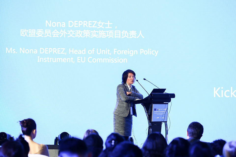 Nona Deprez, Head of the European Commission's Partnership Instrument Unit, speaks at the WeEmpowerAsia launch ceremony. Photo: UN Women/Li Liang