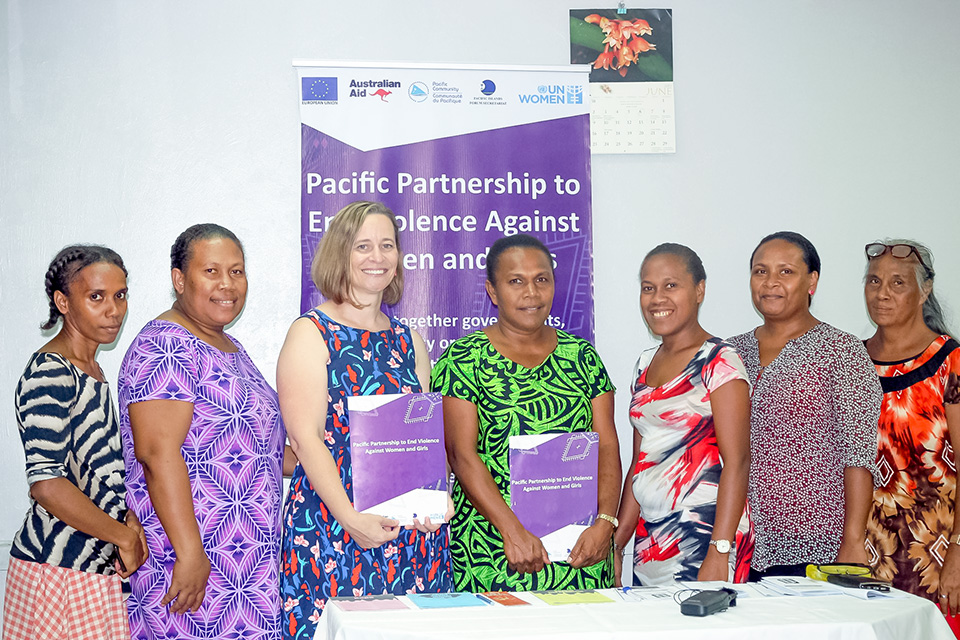 The Solomon Islands' Family Support Centre staff and Manager with UN Women Fiji Multi-Country Office Deputy Representative, Sarah Boxall, at launched of new project that increases support services to victims of sexual and gender-based violence. Photo: Courtesy of SI Family Support Centre