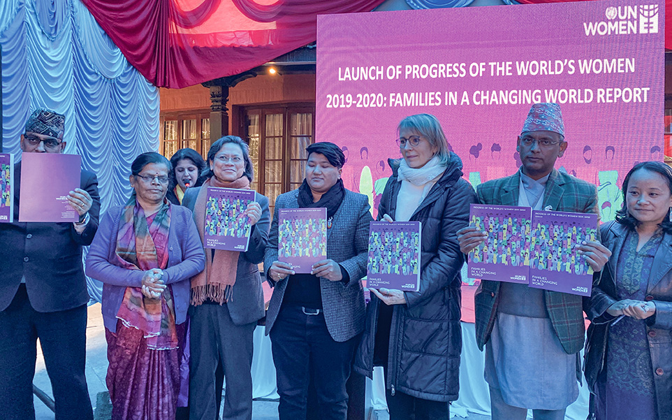 UN Women's global report 'Progress of the World's Women - Families in a changing world' was launched in Kathmandu, with an aim to share its key findings and relate to the context of Nepal's situation of women. Photo: UN Women/Naresh Newar
