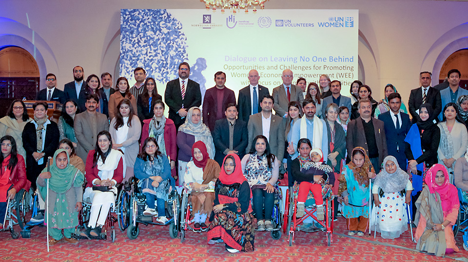 UN Women Pakistan today organized a Dialogue on Leaving No One Behind – Opportunities and Challenges for Promoting Women's Economic Empowerment with focus on Women with Disabilities in Islamabad. Ambassador of Norway to Pakistan His Excellency Kjell-Gunnar Eriksen, Federal Secretary Ministry of Human Rights Ms. Rabiya Javeri Agha, Resident Coordinator United Nations in Pakistan Mr. Knut Otsby and members from disable person organizations, private sector, government and international agencies attended the event. Photo: UN Women/Habib Asgher