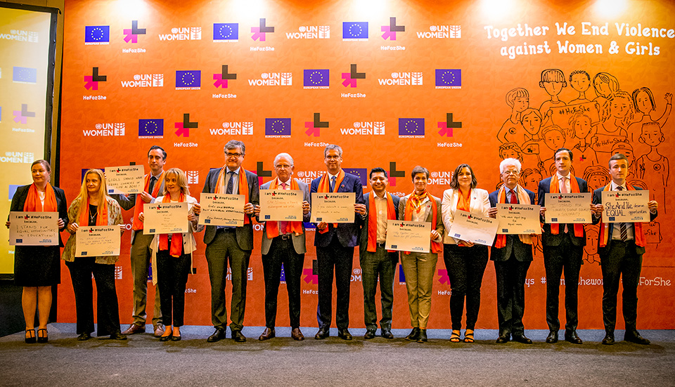 EU Ambassador and Ambassadors of EU Member States took part in the HeForShe pledge, to reaffirm their commitment and to raise awareness on engaging men and boys to end all forms of violence against women and girls. Photo: UN Women/Oscar Siagian