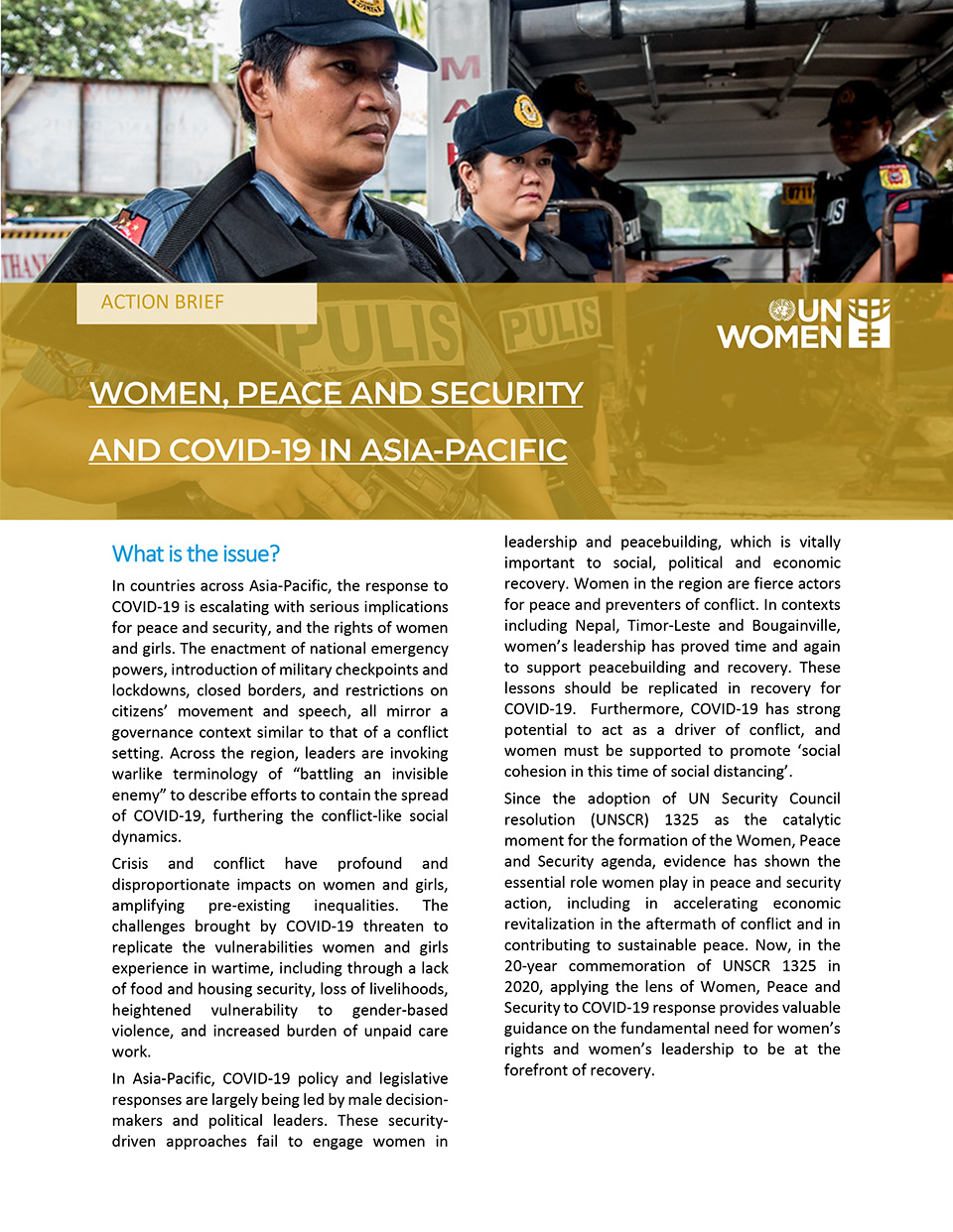 Women Peace and Security, and Covid-19 In Asia-Pacific