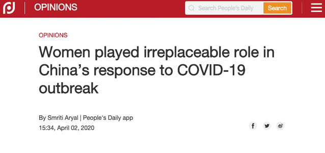 Women played irreplaceable role in China's response to COVID-19 outbreak