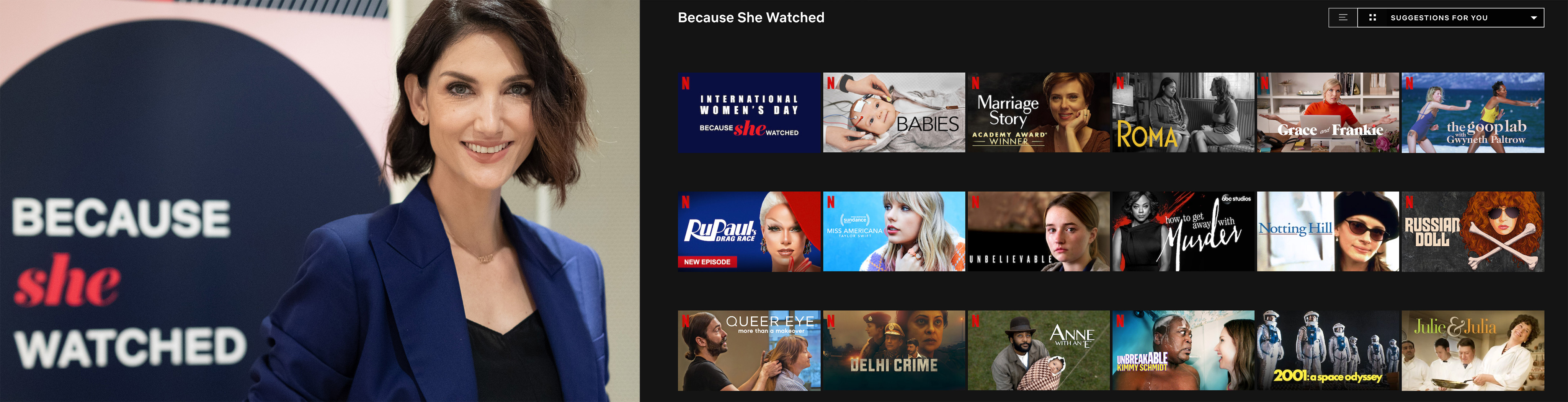 """""""Because She Watched"""" collection celebrates the power of storytelling this International Women's Day, with Cindy Bishop representing Thailand. Photo: Netflix"""