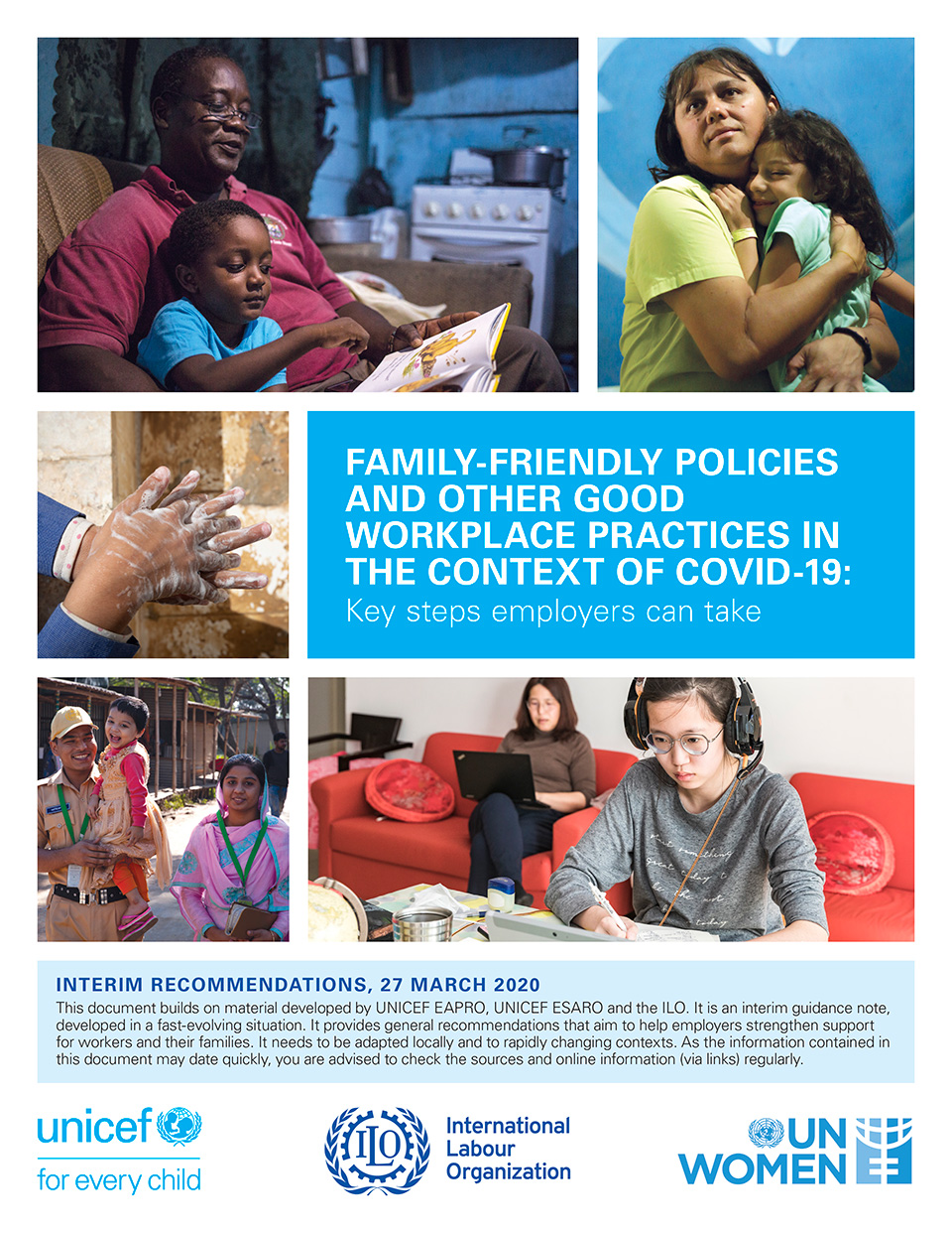 """Download the preliminary technical note from UNICEF, ILO and UN Women on family-friendly policies and other good workplace practices in the context of COVID-19 <a href=""""https://www.unicef.org/documents/family-friendly-policies-and-other-good-workplace-practices-context-covid-19-key-steps"""">here</a>"""