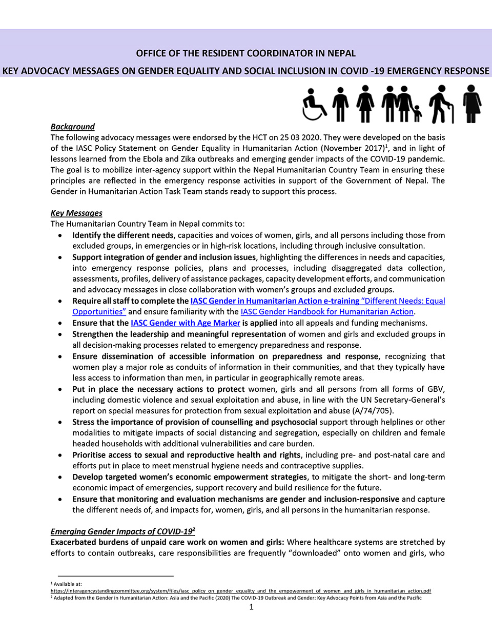 KEY ADVOCACY MESSAGES ON GENDER EQUALITY AND SOCIAL INCLUSION IN COVID -19 EMERGENCY RESPONSE