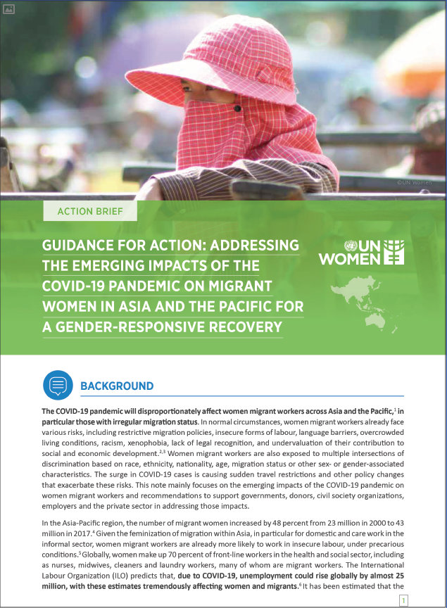 Guidance Note for Action: Addressing the Emerging Impacts of the COVID-19 Pandemic on Migrant Women in Asia and the Pacific for a Gender-Responsive Recovery