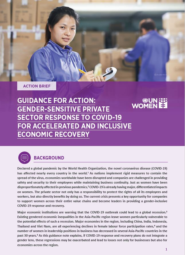 Guidance for action: Gender-sensitive private sector response to COVID-19 for accelerated and inclusive economic recovery