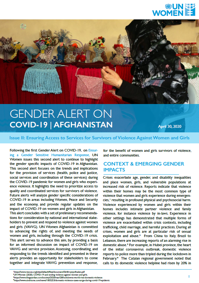 Gender Alert on COVID-19 in Afghanistan | Issue II: Ensuring Access to Services for Survivors of Violence Against Women and Girls