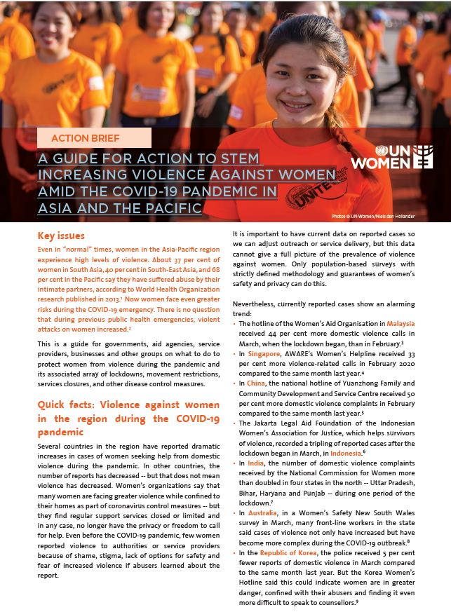 A GUIDE FOR ACTION TO STEM INCREASING VIOLENCE AGAINST WOMEN AMID THE COVID-19 PANDEMIC IN ASIA AND THE PACIFIC