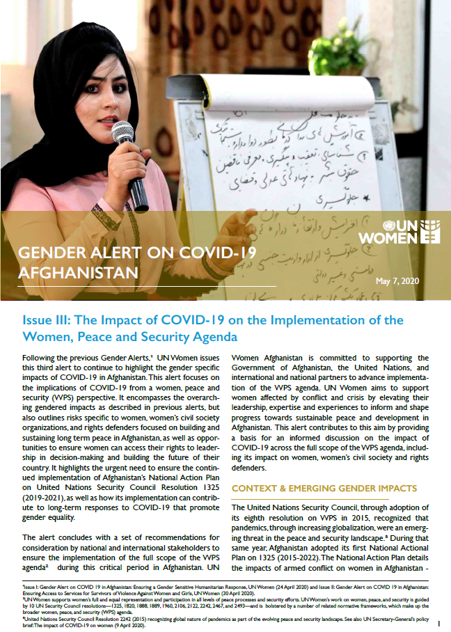 Gender Alert on COVID-19 in Afghanistan | Issue III: The Impact of COVID-19 on the Implementation of the Women, Peace and Security Agenda