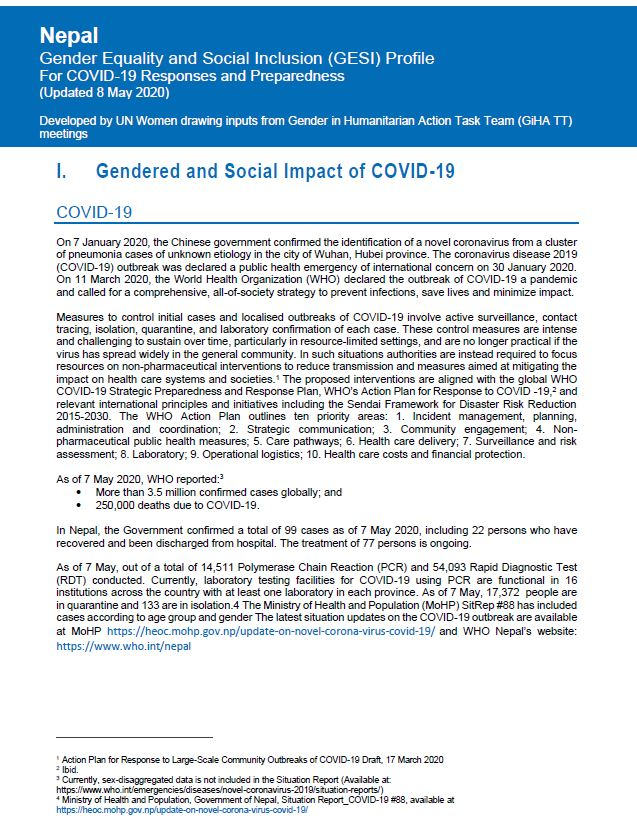 Gender Equality and Social Inclusion (GESI) Profile for COVID-19 Responses and Preparedness