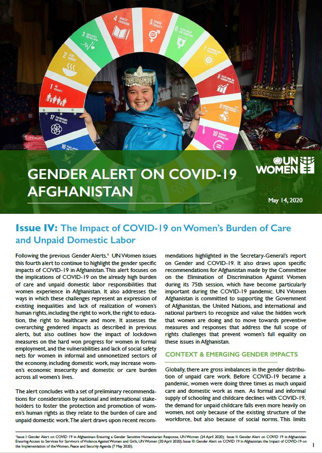 Gender Alert on COVID-19 in Afghanistan | Issue IV: The Impact of COVID-19 on Women's Burden of Care and Unpaid Domestic Labor