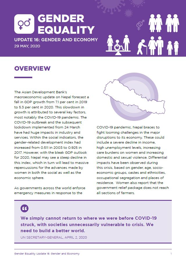 Gender Equality Update 16: Gender and Economy