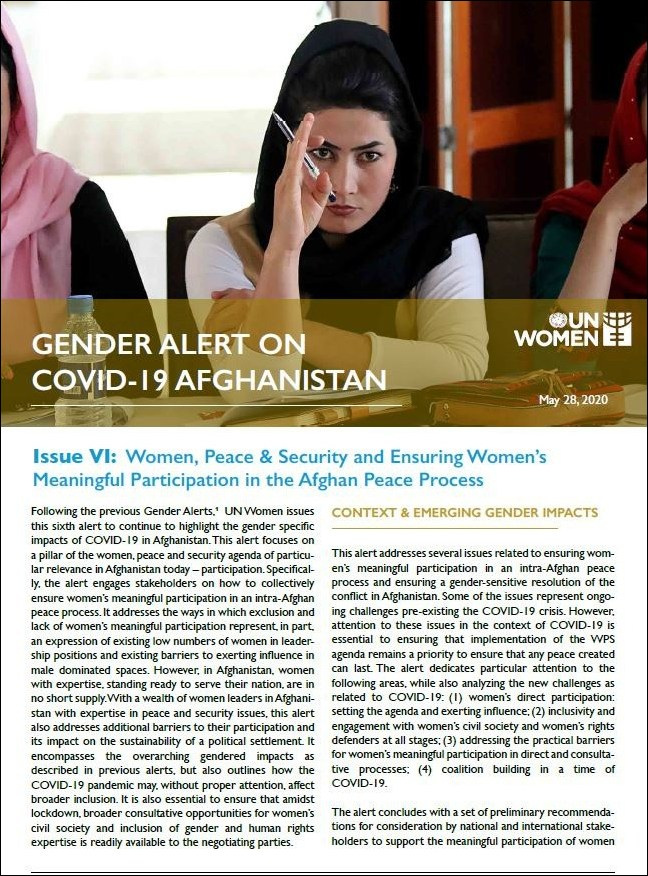 Gender Alert on COVID-19 in Afghanistan | Issue VI: Women, Peace & Security and Ensuring Women's Meaningful Participation in the Afghan Peace Process