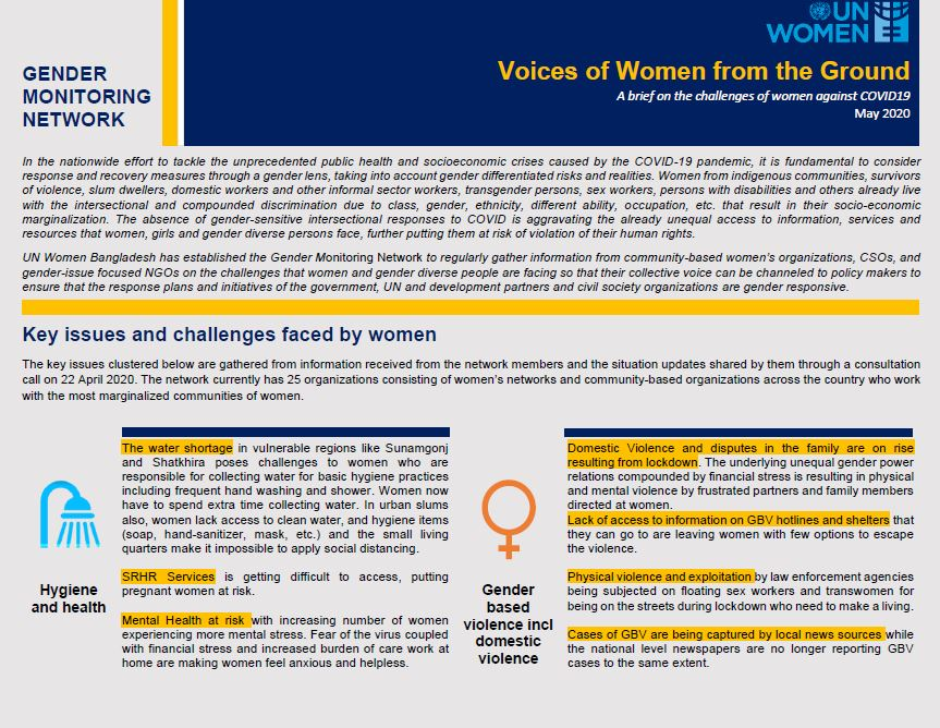 Voices of women from the ground - a brief on the challenges of women against COVID19