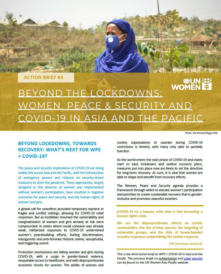 ACTION BRIEF: Beyond the Lockdowns: Women, Peace & Security and COVID-19 in Asia and the Pacific
