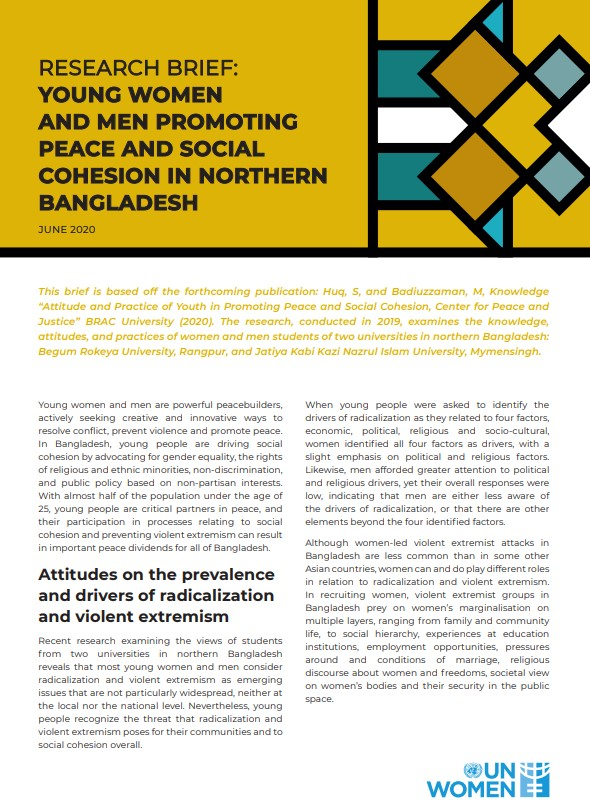 Young women and men promoting peace and social cohesion in northern Bangladesh