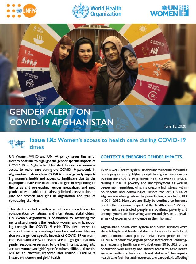 Gender Alert on COVID-19 in Afghanistan | Issue IX: Women's Access to Health Care During COVID-19 Times