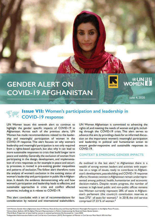 Gender Alert on COVID-19 in Afghanistan | Issue VII: Women's participation and leadership in COVID-19 Response
