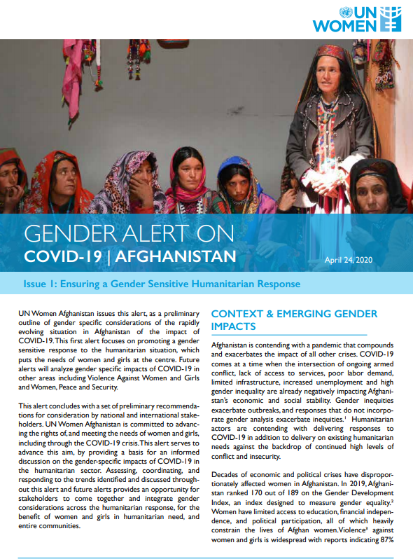 Gender Alerts on COVID-19 in Afghanistan series