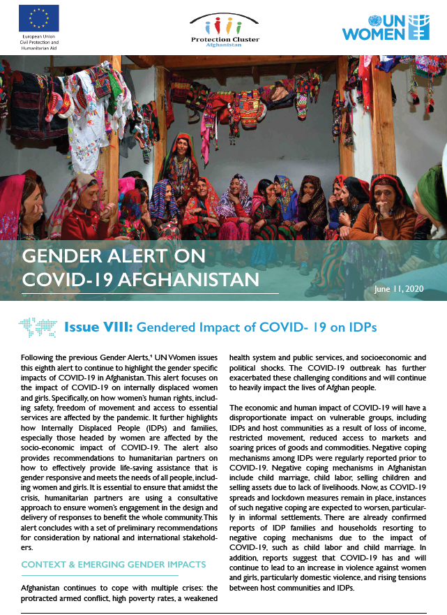 Gender Alert on COVID-19 in Afghanistan | Issue VIII: Gendered Impact of COVID-19 on IDPs