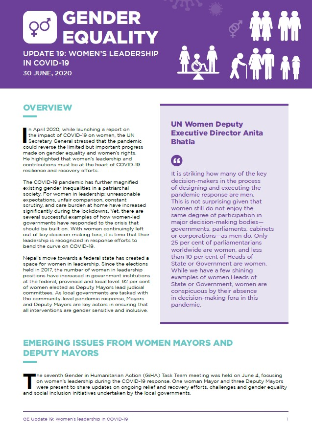 Gender Equality Update 19: Women's Leadership in COVID-19