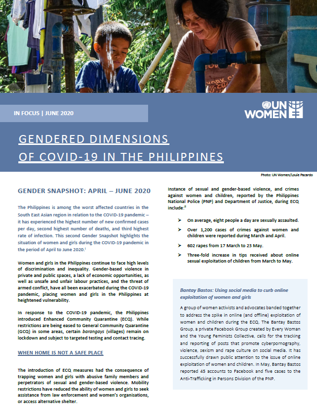 Gendered dimensions of COVID-19 in the Philippines