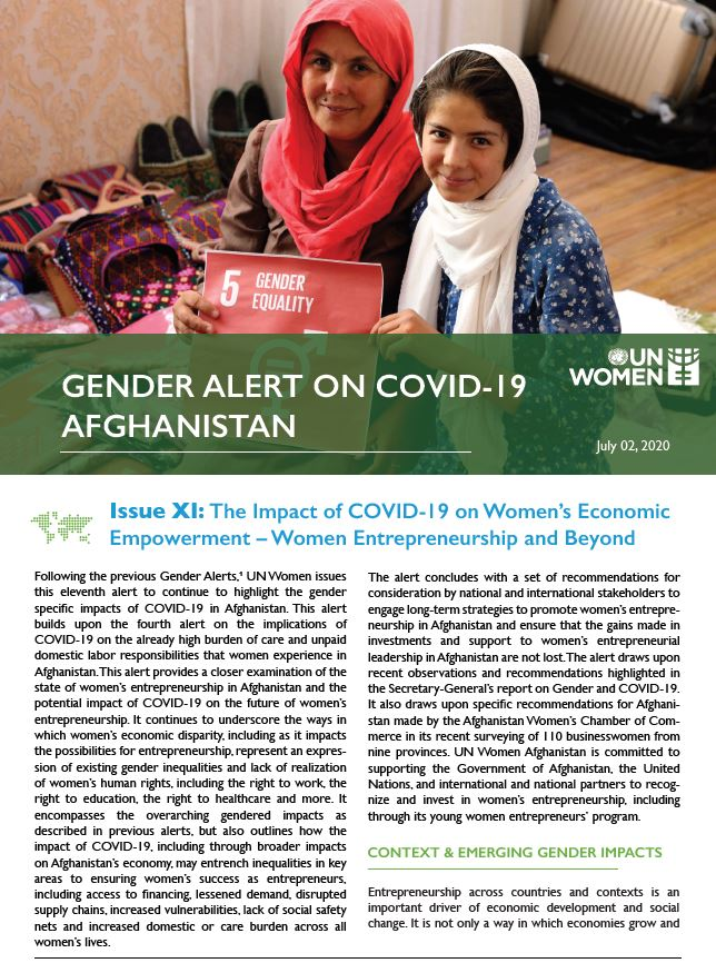 Gender Alert on COVID-19 in Afghanistan | Issue XI: The Impact of COVID-19 on Women's Economic Empowerment – Women Entrepreneurship and Beyond