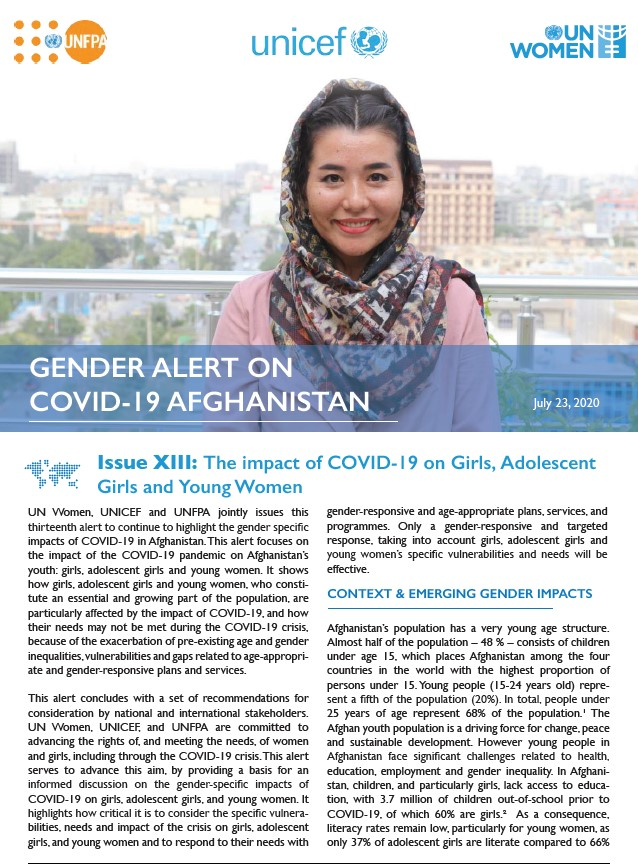 Gender Alert on COVID-19 in Afghanistan | Issue XIII: The impact of COVID-19 on Girls, Adolescent Girls and Young Women