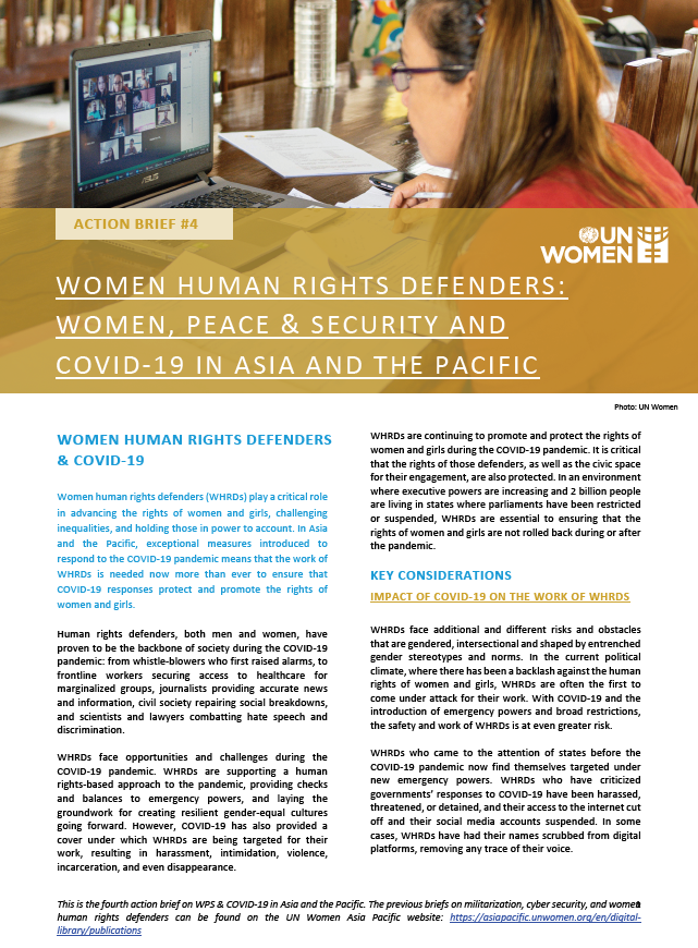 ACTION BRIEF: Women Human Rights Defenders: Women, Peace & Security and COVID-19 in Asia and the Pacific