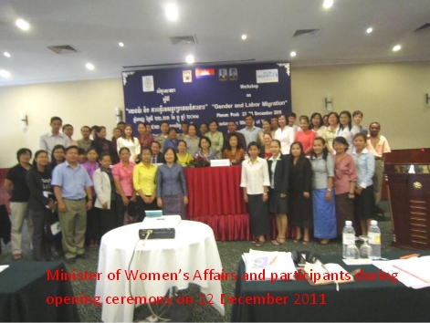 UN Women Cambodia s upports the Ministry of Women's Affairs in hosting the National Workshop on Gender and Labor M igration