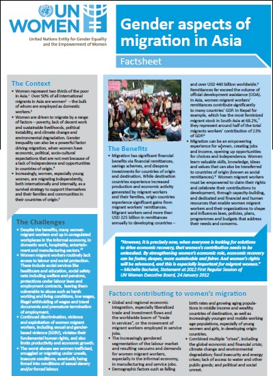 Factsheet: Gender aspects of migration in Asia