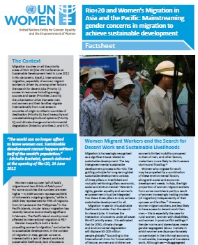 Factsheet Rio+20 and Womens Migration in Asia and the Pacific: Mainstreaming gender concerns in migration to achieve sustainable development