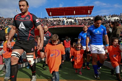 The national rugby teams of Georgia and Samoa unite to fight violence against women