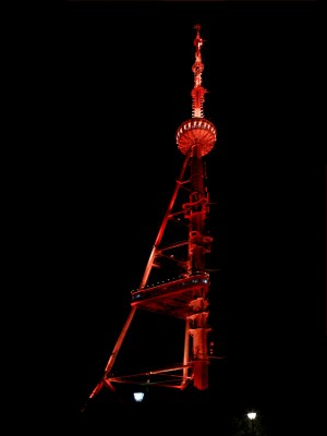 TV Tower of the capital city was lit up in orange