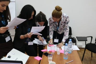 Workshop participants engaged in group exercise