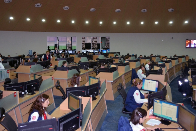 Emergency and Operative Response Center 112 operators during working process