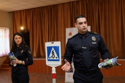 """In the frameworks of the project """"10 lessons on safety"""" patrol inspectors Tamuna Migineishvili and Levan Tsiklauri discuss issues related to safety"""