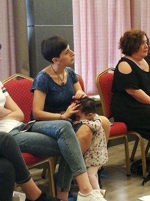 """The participant of the workshop, the journalist of online media outlet """"Tabula"""" Khatia Gogoberidze  with her one-year old daughter"""