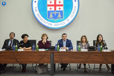 From left to right: Peter Danis, Programme Manager, EU Delegation to Georgia, Natia Mezvrishvili, Deputy Minister of Internal Affairs of Georgia, Erika Kvapilova, UN Women Country Representative in Georgia, Giorgi Gabitashvili, Deputy Chief Prosecutor of Georgia, Natia Merebashvili, Acting Head of the Department of Prosecutorial Activities Supervision and Strategic Development, Chief Prosecutor's Office of Georgia, Salome Shengelia, Head of the Human Rights Protection Division, Chief Prosecutor's Office of Georgia