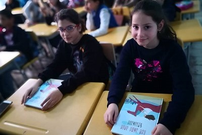 Children in Ozurgeti, Guria participating in the discussion after the presentation of the collection of the fairy tales