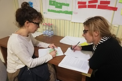 Before meeting the mentees, the mentors practiced mentoring techniques in pairs