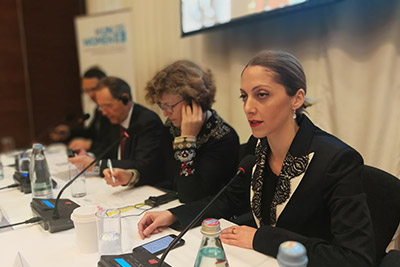 Sopho Japaridze, Assistant to the Prime Minister on Human Rights and Gender Equality Issues presented her opening remarks at the launch of the Project.  Photo: UN Women
