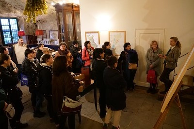 Participants of the study tour listening to the presentation of Mrs. Clotilde Corsini, owner of Villa le Cort