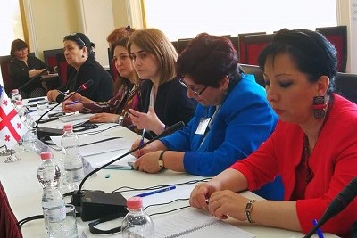 Representatives of the central and local governments, NGOs, internally displaced and conflict-affected women discussing the women, peace and security agenda implementation at the local level