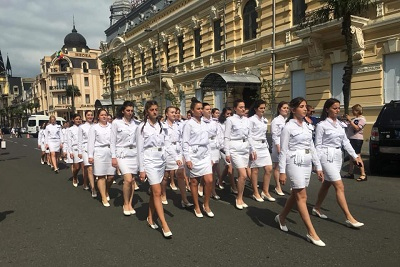 To mark the celebration, the female students of Batumi State Maritime Academy marched together with the orchestra in Central Park