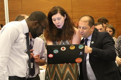 Reviewing of the hackathon groups work by jury