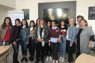 H.E. Marina Carobbio Guscetti President (in the center) and Ms. Isabelle Moret 1st Vice-President of the National Council (the third from the right) with socially mobilized women and girls from Marneuli